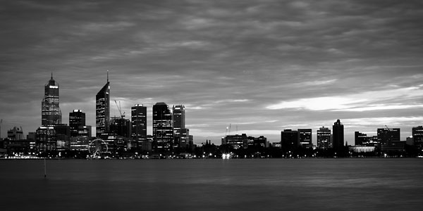 city skyline in black and white. South Perth, Western Australia