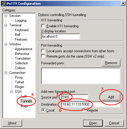 Smoothwall - Tunnelling VNC over SSH with PuTTY